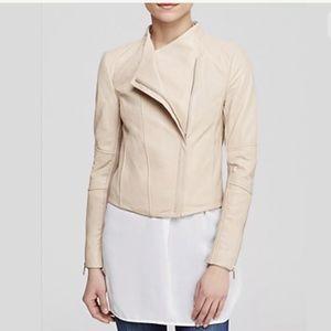 Vince Asymmetrical Rib Knit Lambskin Jacket